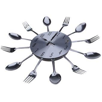 agotado diseo moderno de metal cubiertos cocina estilo reloj cuchara tenedor del reloj de pared de plata