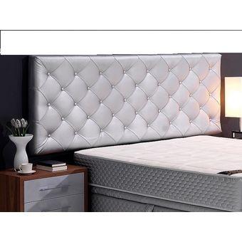 cabecero tapizado base cama doble rombos plateado
