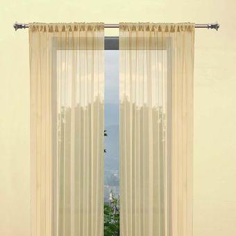 set de cortinas de tergal francs beige - Cortinas Beige