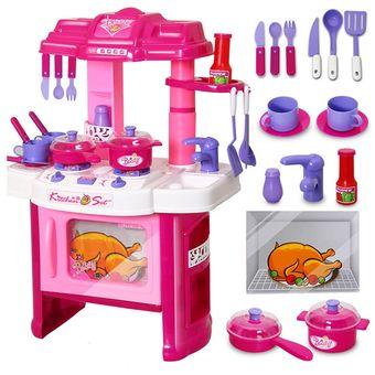 agotado juguete cocina infantil grande completa para nias horno luces y sonidos reales