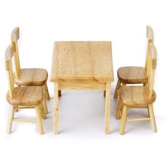 generic mesa comedor sillas miniatura juguete modelo nio mueble casa mueca madera
