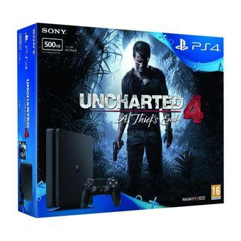 Playstation 4 Ps4 Slim 500 Gb + Joystick Original + Uncharted 4