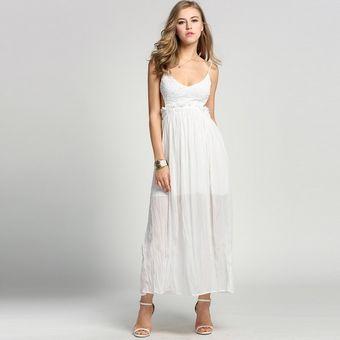 Vestido largo de fiesta en blanco