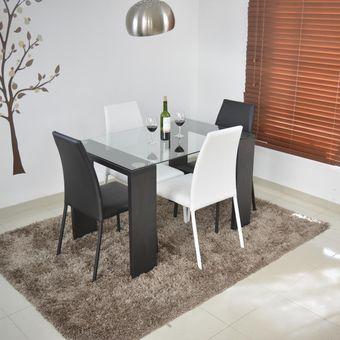 Compra comedor milan 4 puestos negro blanco online for Comedor 4 puestos madera