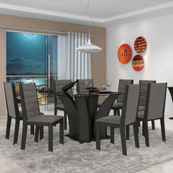Muebles decomedor muebles de comedor en negro y dorado for Juego de comedor de 8 sillas moderno