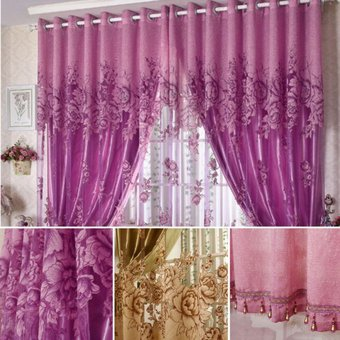magideal 250 cuentas peona 100cm voile cortinas saln cortina de la ventana de tul morado - Cortinas Moradas
