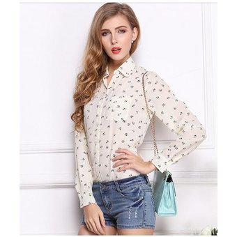 ropa mujer blusa de chiffon estilo europeo y americano mangas largas de color beige con estampas