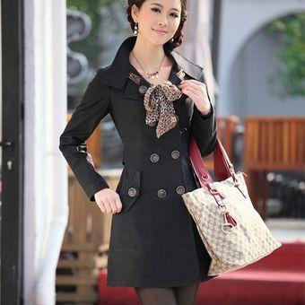 chaqueta gabardina trench larga bufanda para mujer negro