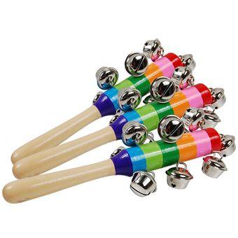 juguete del palillo de madera cascabeles rainbow kids juguetes educativos nios sacudida de la mano