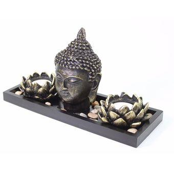 jardn zen cabeza buda flor loto vela meditacin relajacin