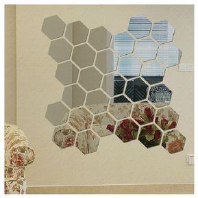pcs modernos d espejo geomtrica hex