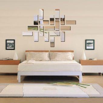 EW Decoración De Habitación De Acrílico 3D Rectángulo Espejo Efecto Mural Pared Sticker Decal Home