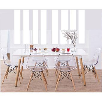 set de 2 sillas eames dsw transparente - Sillas Eames