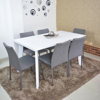 Compra comedor 6p lugo blanco sillas tela gris online - Sillas comedor grises ...