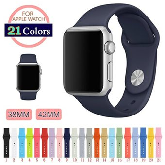 Pulsera De Reloj De Silicona De 42mm Correa De Reloj De 21Colores Para IWatch Apple Watch Reloj