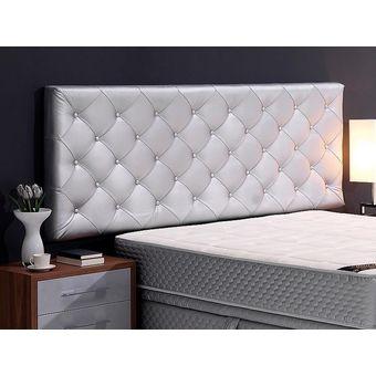 cabecero tapizado base cama sencillo rombos plateado